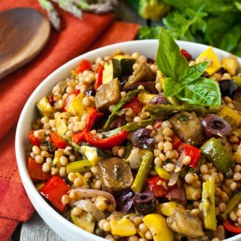 Mediterranean Israeli Couscous Salad with Roasted Vegetables - A Family Feast