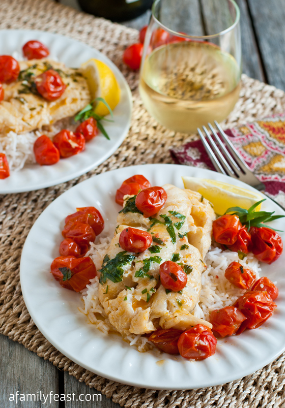 Poached Cod with Tarragon and Cherry Tomatoes - a quick and delicious dinner that is flavorful and healthy!