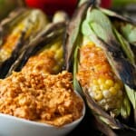 Grilled Corn on the Cob with Roasted Red Pepper Butter - A Family Feast