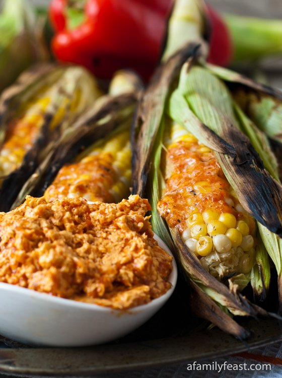 Grilled Corn on the Cob with Roasted Red Pepper Butter - a delicious and super flavorful way to enjoy corn on the cob