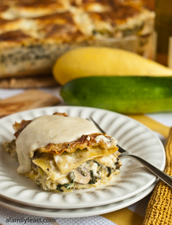 White Vegetable Lasagna - Chock-full of summer veggies in a creamy cheese sauce. Pure summertime comfort food!
