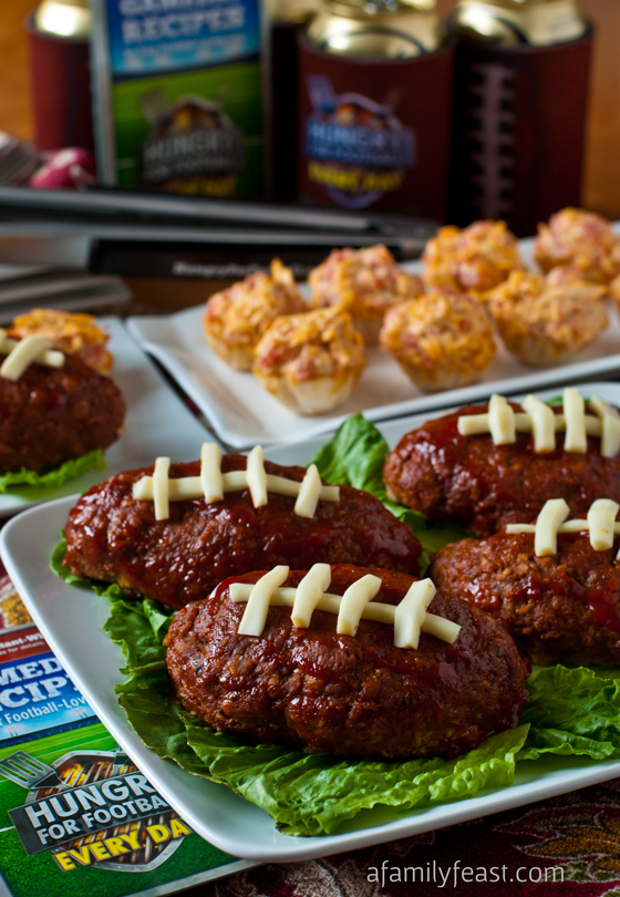 Touchdown Mini Meatloaf and Buffalo Chicken Bites - Two great recipes perfect for a game day party!