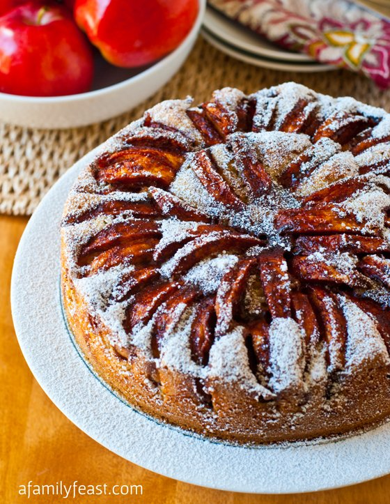 Apple Topped Cake - A moist, dense and super delicious cake that is just perfect for baking with in-season apples!