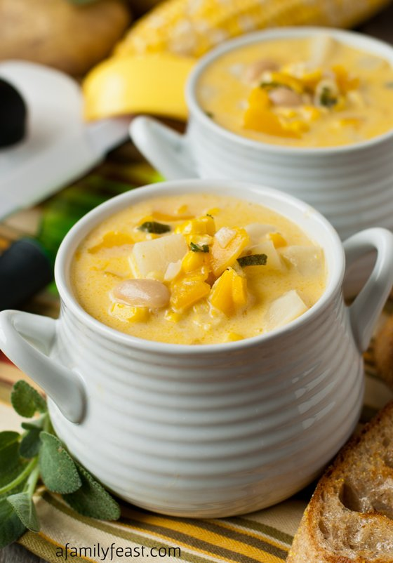Fall Harvest Vegetarian Corn and Butternut Chowder - A Family Feast