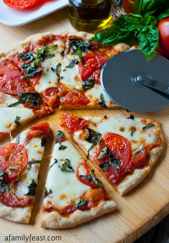 Pizza Margherita with Roasted Tomato Pizza Sauce - A Family Feast