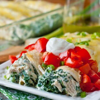Skinny Creamy Chicken Enchiladas - A Family Feast