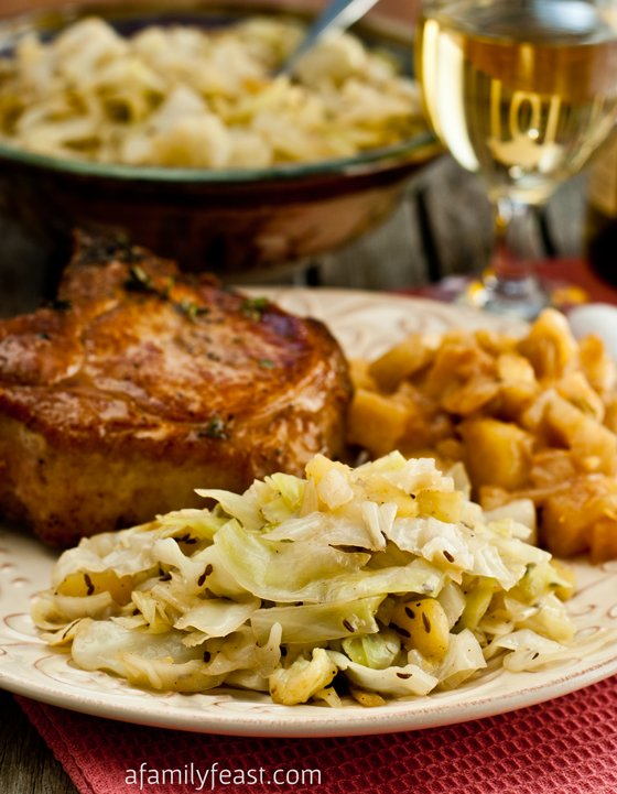 Braised Cabbage and Apples - A wonderful side dish for a fall dinner. Tender sauteed cabbage & apples that have been flavored with bacon, beer and caraway. Really delicious!