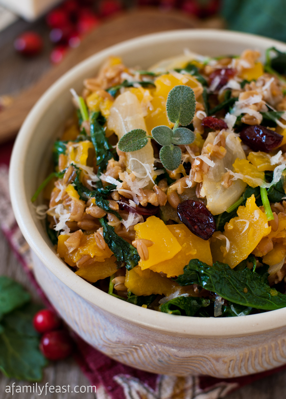 A delicious and hearty recipe for Farro with Butternut Squash and Baby Kale - Wonderful fall flavors in a healthy dish!