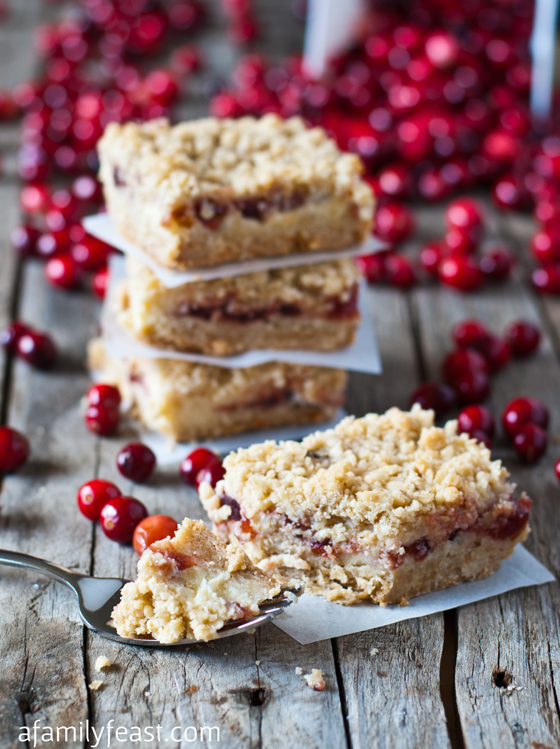 Oatmeal Cranberry Cheesecake Bars - A Family Feast