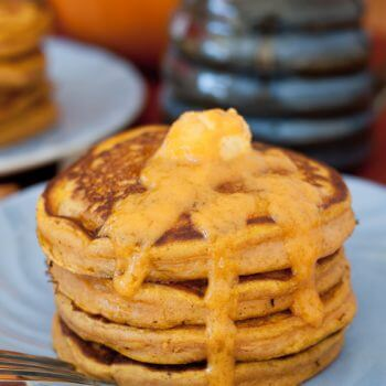 Pumpkin Pancakes with Maple Pumpkin Butter - A Family Feast