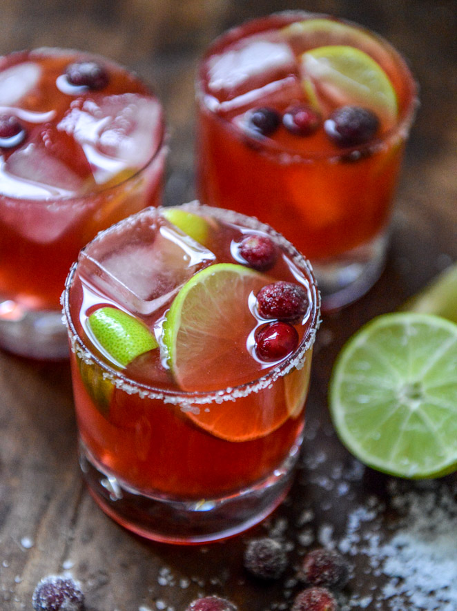 30+ Holiday Cocktails - Cranberry Ginger Vanilla Margaritas