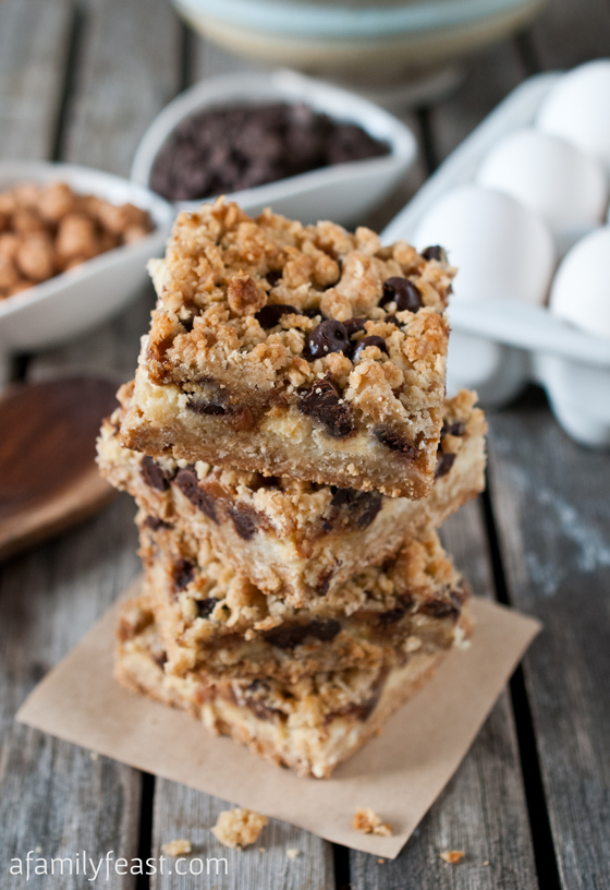 Chocolate Chip Caramel Crumble Bars - A Family Feast
