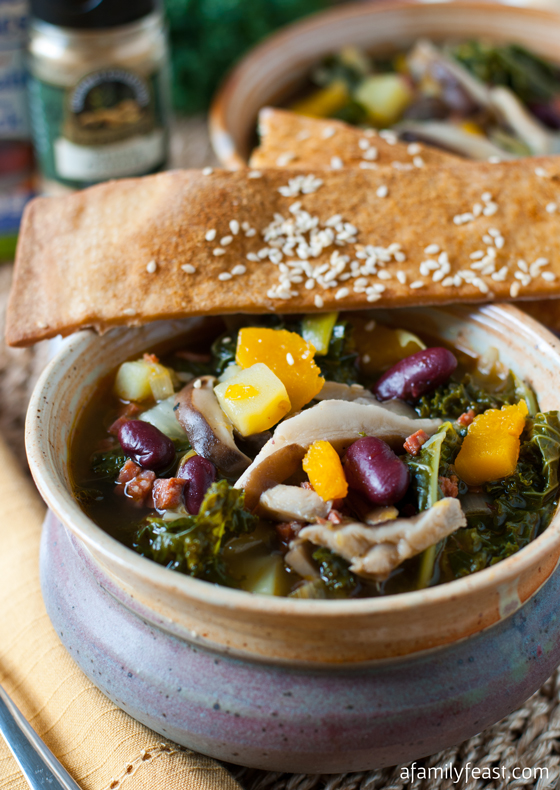 Kale and Shiitake Mushroom Soup with Ginger Sesame Lavash Crackers - A Family Feast