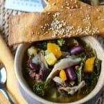 Kale and Shiitake Mushroom Soup with Ginger Sesame Lavash Crackers