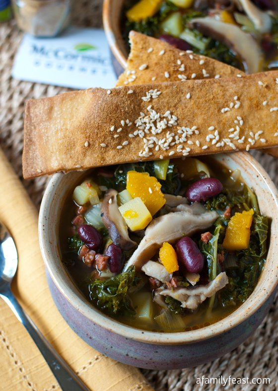 Kale and Shiitake Mushroom Soup with Ginger Sesame Lavash Crackers - A delicious, spicy and hearty soup served with delicious ginger-sesame lavash crackers.