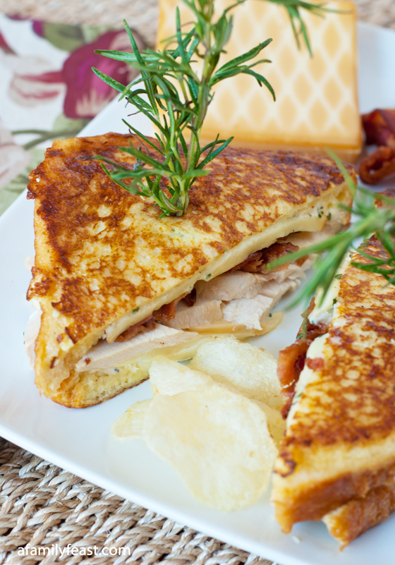 Turkey Monte Cristo with Rosemary Aioli - A delicious variation on the classic Monte Cristo sandwich using leftover Thanksgiving turkey, bacon and Gruyere cheese. The addition of the rosemary aioli is fantastic!