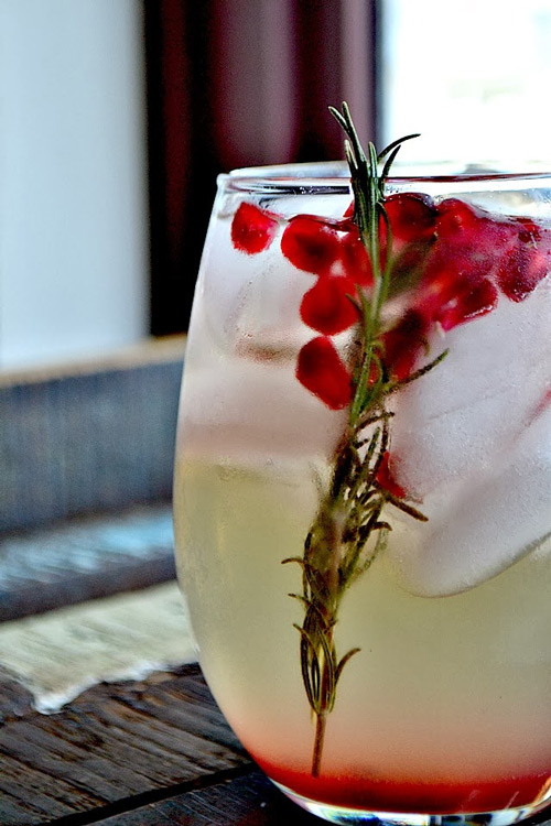 30+ Holiday Cocktails - Pomegranate Rosemary White Sangria