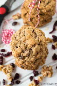 Cranberry Walnut Oatmeal Cookies - A Family Feast