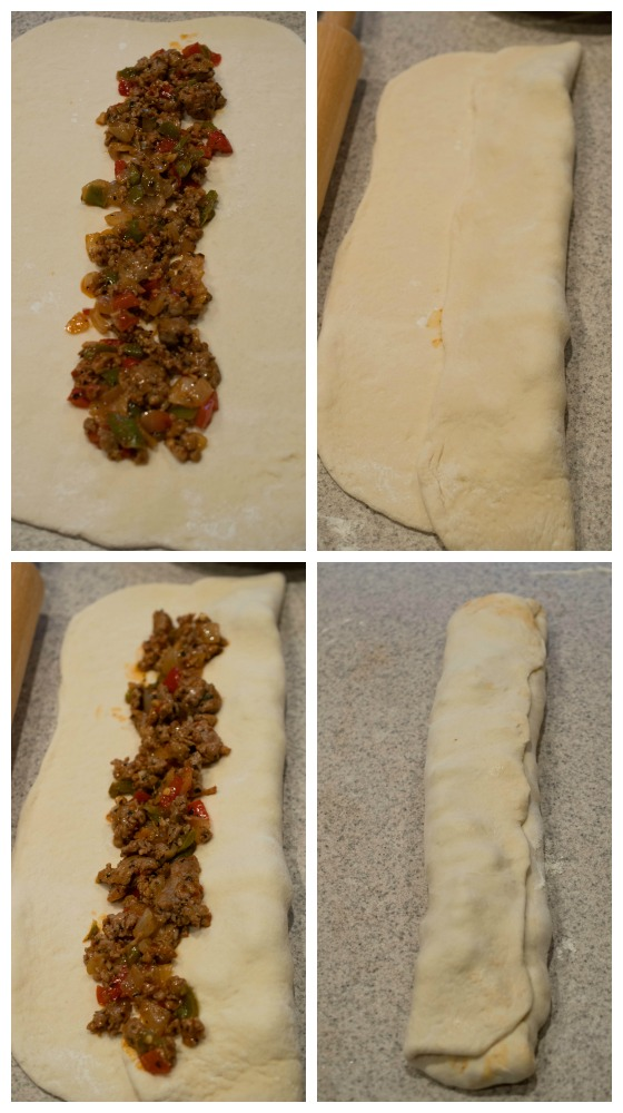 sausage bread collage