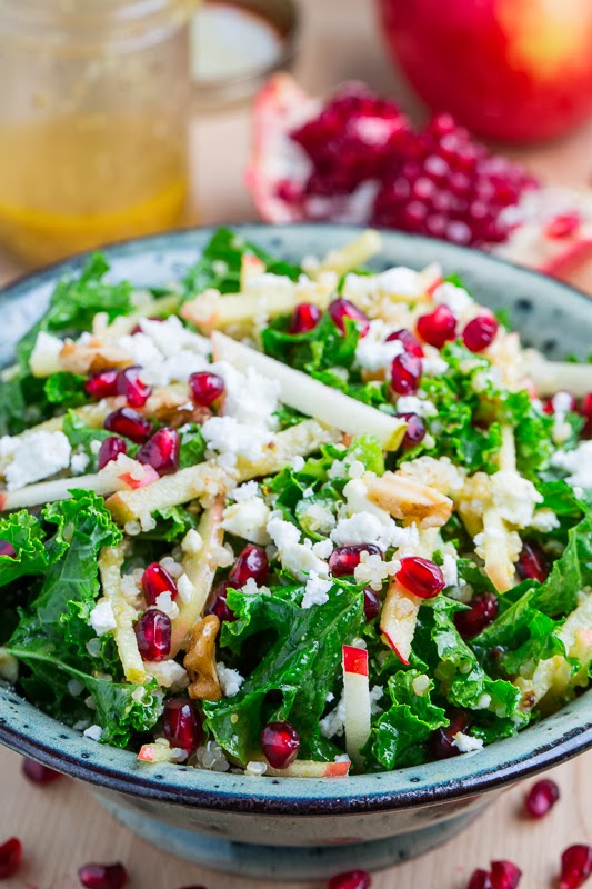 Apple Quinoa and Kale Salad with Pomegranate and Feta in a Curried Maple Dijon Dressing
