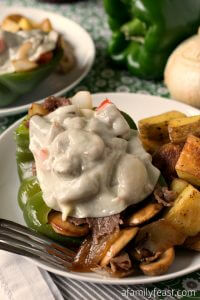 Philly Cheesesteak Stuffed Peppers - A Family Feast