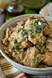 Pesto Chicken over Sautéed Cannellini Beans - A Family Feast