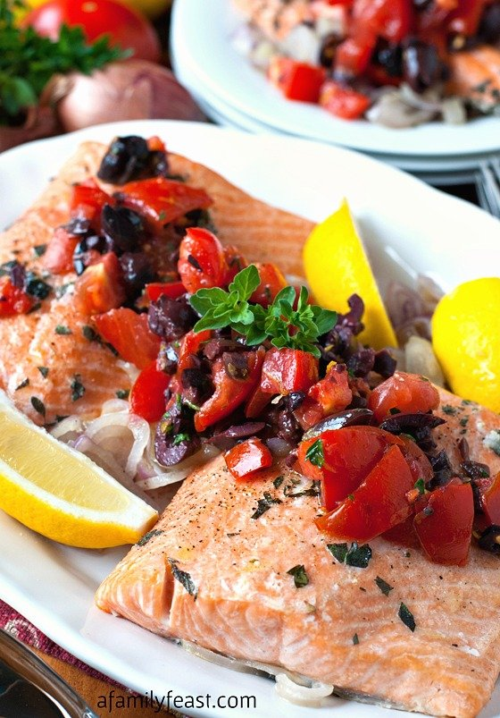 Roasted Salmon with Tomato-Olive Relish - Healthy and delicious, this fantastic recipe is bursting with fresh, Mediterranean-inspired flavor!
