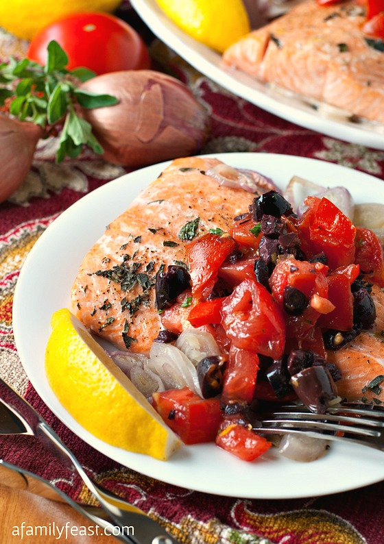 Roasted Salmon with Tomato-Olive Relish - A Family Feast
