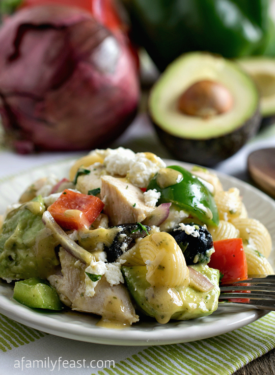 Avocado Chicken Pasta Salad - An easy, healthy and delicious all-in-one meal!