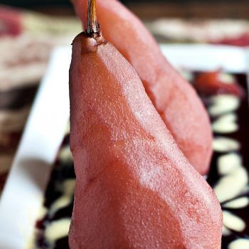 Poached Pears in Red Wine with Vanilla Custard Sauce - A Family Feast