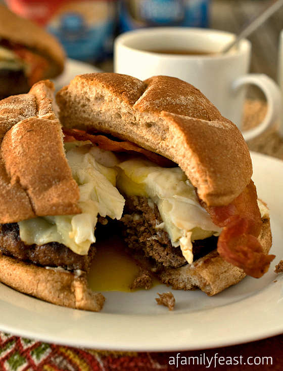Red-Eye Burger - A hearty burger that's been seasoned with ground coffee and other spices and seasonings, then topped with melted cheese, bacon and a fried egg! This burger recipe is the best answer to any middle-of-the-night craving!