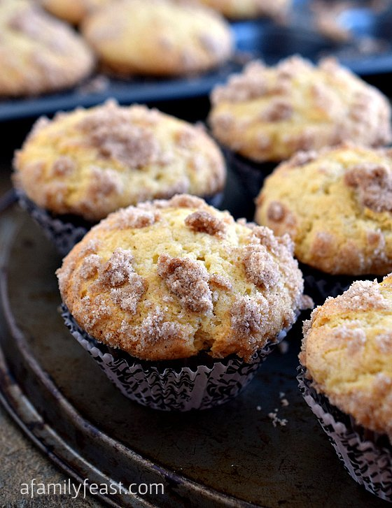 Sour Cream Coffee Cake Muffins - A Family Feast