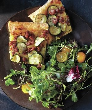 Zucchini Tart with Crumbled Sausage and Dijon- 25-Plus Delicious Dijon Recipes