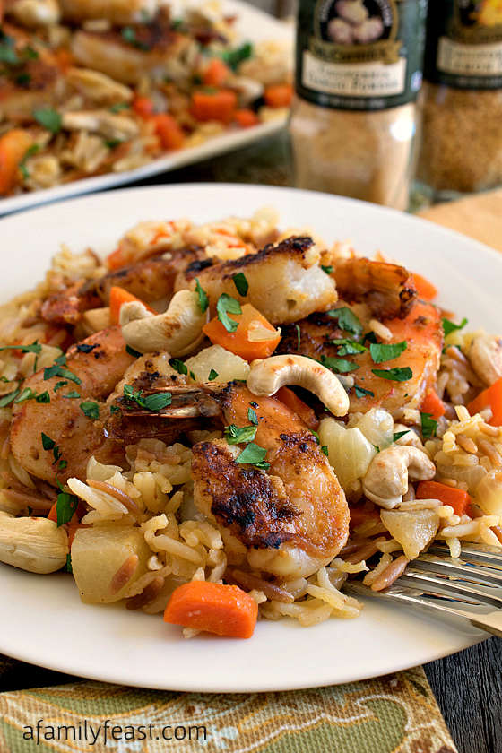 Garlic Lemon Shrimp with Savory Root Vegetable Rice Pilaf - A delicious spice mix flavors both the shrimp and the rice in this recipe to create a fantastic meal!