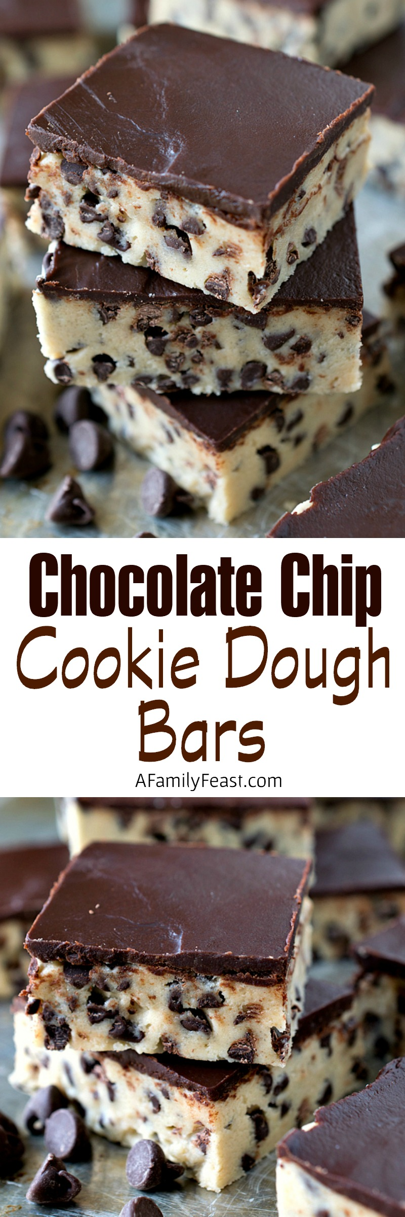Chocolate Chip Cookie Dough Bars - Simple to make, egg-free and incredibly decadent! Kids and adults will love this recipe.