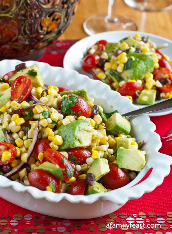 A delicious Avocado, Corn and Tomato Salad recipe. Perfect for summer barbecues or Cinco de Mayo celebrations!