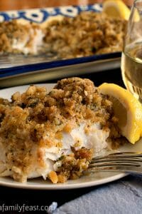 Cheesy Baked Stuffed Cod - A Family Feast