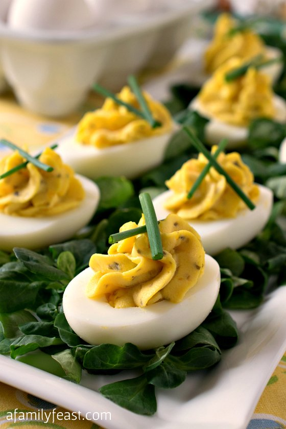The BEST recipe for perfect Deviled Eggs! Simple and delicious - a favorite appetizer at any event.