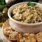 Roasted Eggplant and White Bean Dip with Caraway Crackers