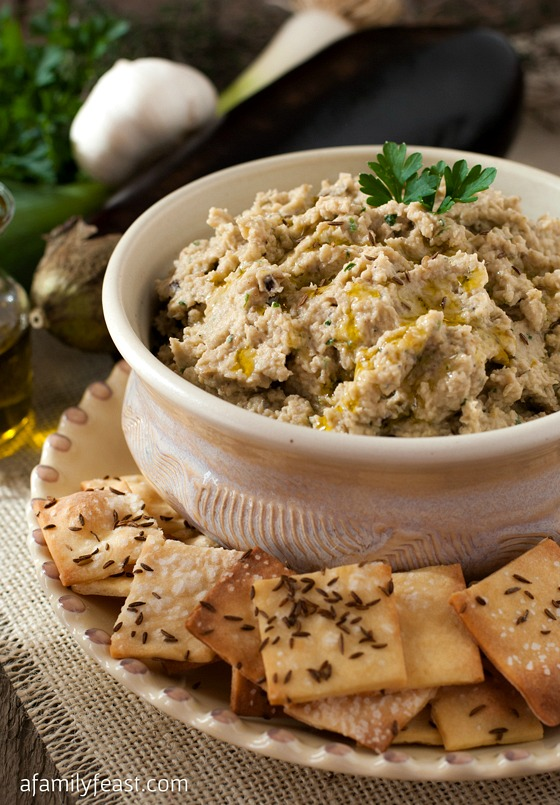 Roasted Eggplant and White Bean Dip with Caraway Crackers - A Family Feast