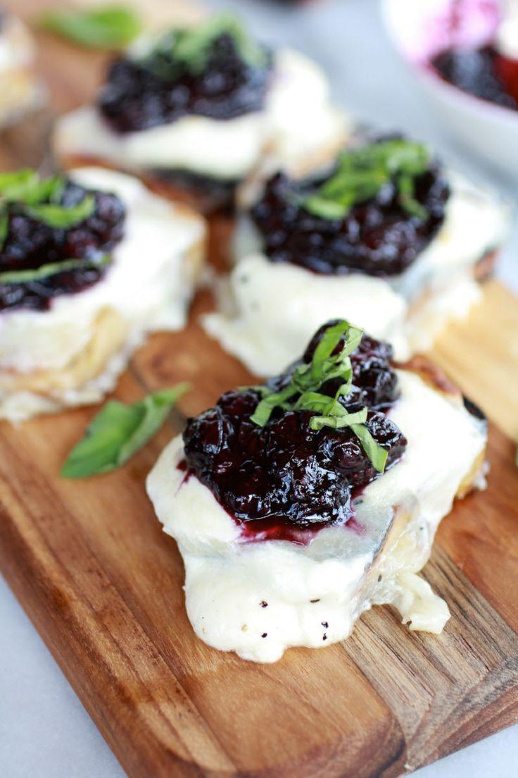 Blueberry Basil Balsamic Mozzarella Crisps - 25+ Best Blueberry Recipes