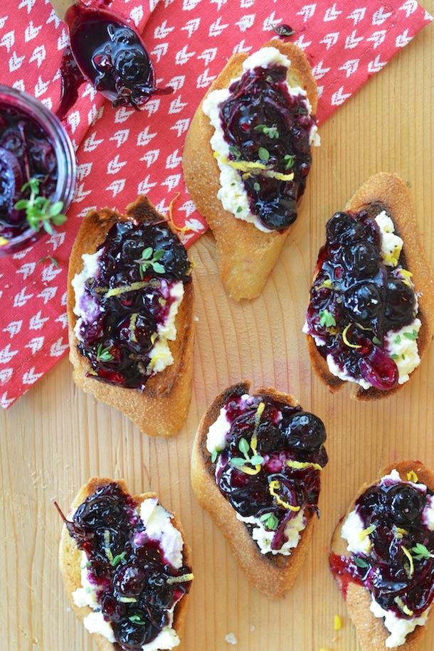 Blueberry Chutney and Ricotta Crostini - 25+ Best Blueberry Recipes