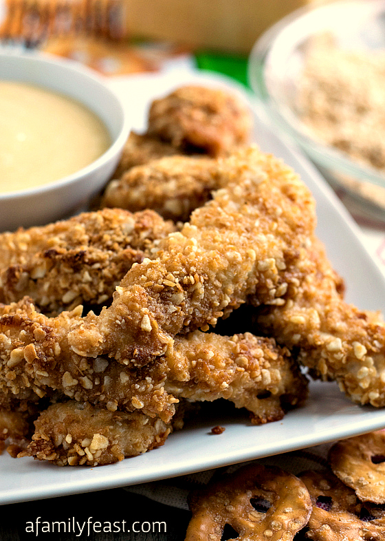 Crispy Pretzel Chicken with Parmesan Honey Mustard Sauce - A Family Feast