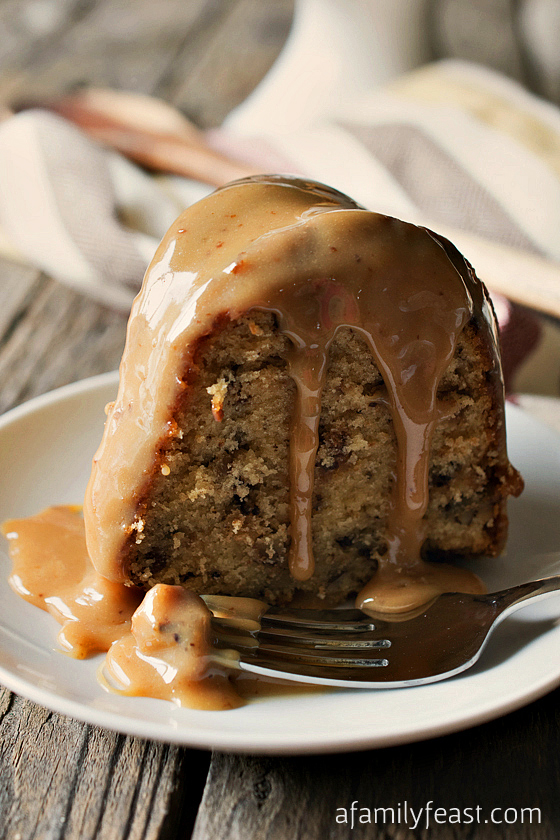 Toffee Pecan Bundt Cake with Caramel Drizzle - A Family Feast