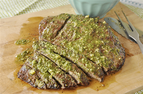 Flank Steak with Pesto - 20+ Sizzling Steak Recipes