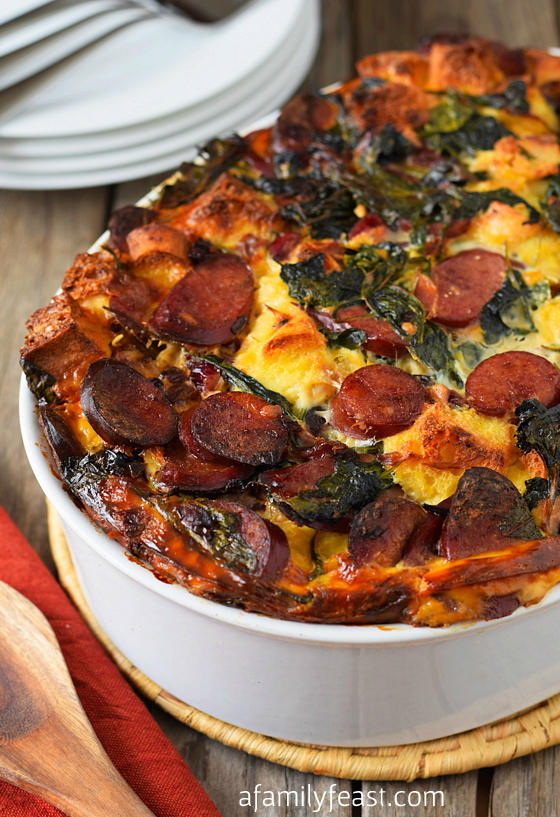 Turkey Kielbasa and Baby Kale Strata - A Family Feast
