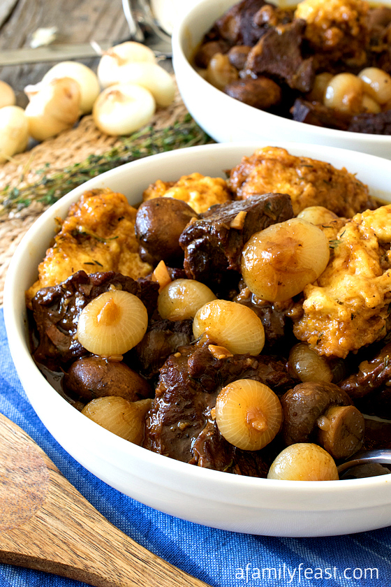 Seared Beef with Cipolline Onions and Horseradish Dumplings - A Family Feast