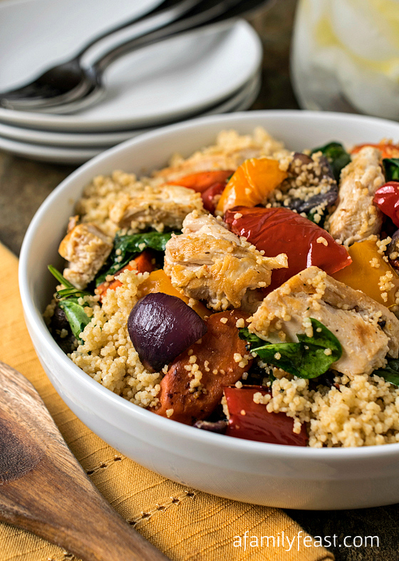 Grilled Chicken with Roasted Vegetables and Whole Wheat Couscous - Easy to make from healthy ingredients and super flavorful!