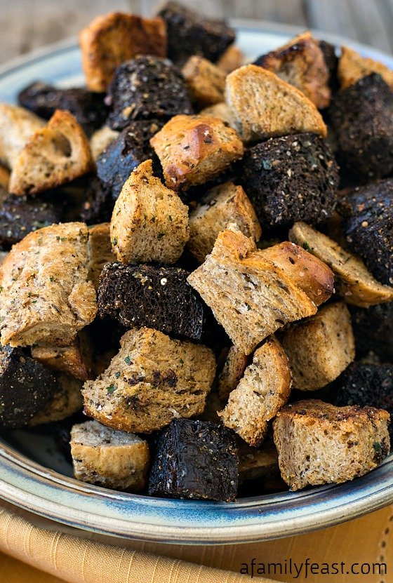 How to make Homemade Croutons - Hearty, crispy and super flavorful homemade croutons are so easy to make!