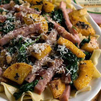 Smoked Ham with Butternut Squash Over Noodles - A Family Feast
